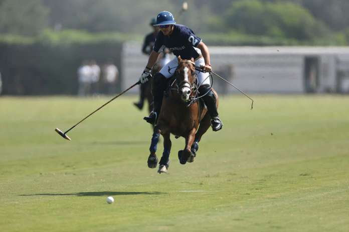 Lucchese's Facundo Obregon on a breakaway down field on a flying pony.