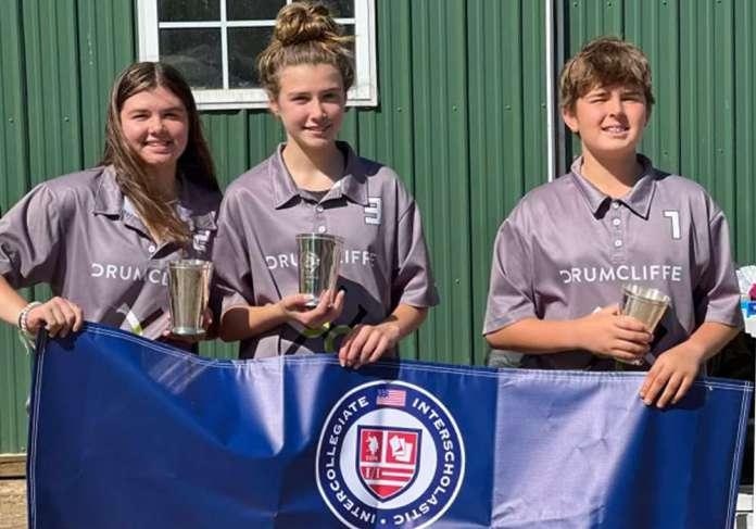 Marlan Farm Polo Club's Southeastern Region Middle School Tournament Champions: Grey- Sierra Blevins, Ana Grace Karpovich, Lahsen Benyoussef.