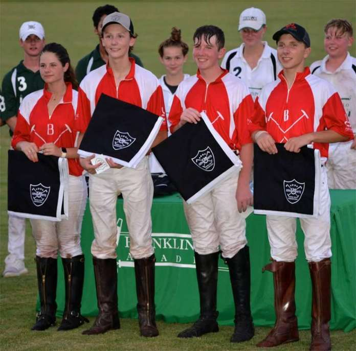 Nashville Polo Club NYTS Qualifier Winners; Bluewater Creek - (L to R) Madelyn Porter, Will Smith, Zach Wallace, Ry Koopman. © Brenda Black.