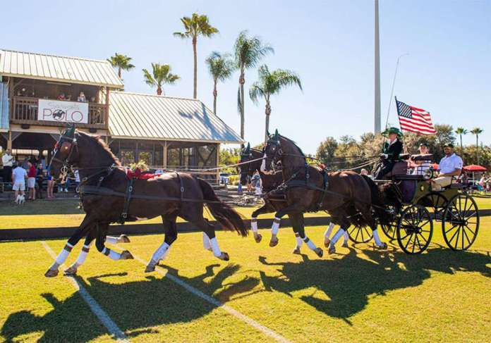 Club Owner Misdee Miller presented the American flag on her team of carriage horses.
