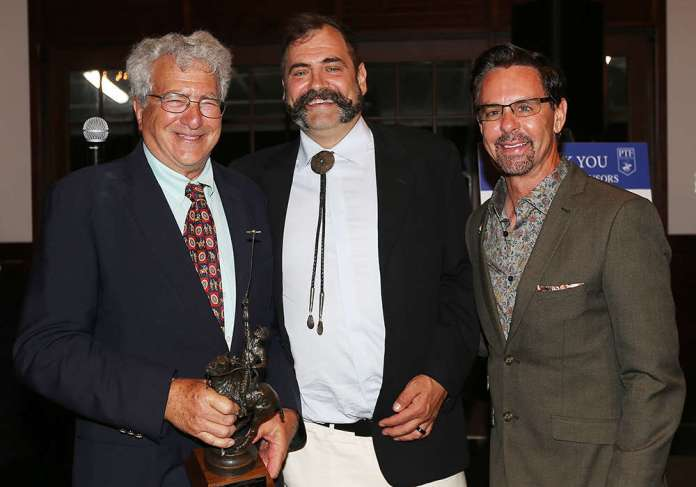 Danny Scheraga was presented with the Russ Sheldon Award for Outstanding Contribution to Arena Polo. Pictured with USPA CEO Robert Puetz and Dan Coleman.