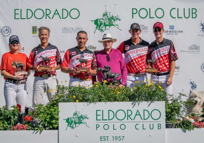 2020 8-Goal Pacific Coast Circuit Constitution Cup Champions: Sapa Polo - Erin Brittin, Tom Scherman, Igor Seyranov, Jesse Bray, Jimmy Wright, presented by Fred Mannix.