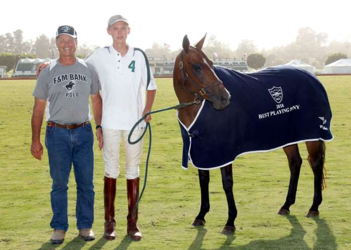 Santa Barbara Polo & Racquet Club Best Playing Pony Diabla, pictured with USPA Pacific Coast Circuit Governor Danny Walker and Bayne Bossom. ©David Lominska.