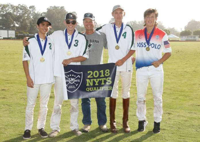 Santa Barbara Polo & Racquet Club All-Stars (L to R) Johnny Kirton, Charlie Walker, USPA Pacific Coast Circuit Governor Danny Walker, Bayne Bossom, Lucas Escobar. ©SBPRC/Lominska.