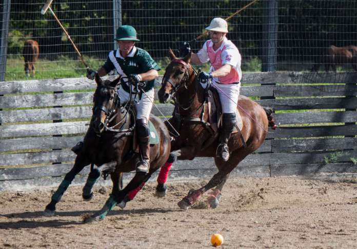 Three Trees' Will Boland in a race for possession with Most Valuable Player, Orea Polo's Nik Feldman. ©Lindsay Dolan