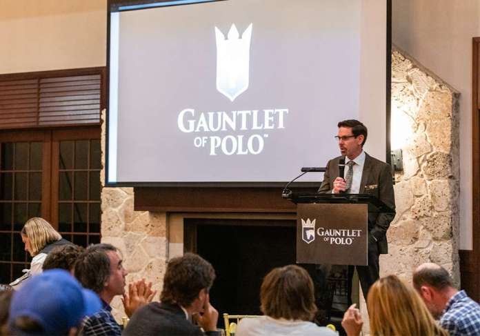 Robert Puetz speaking at a promotion event for the GAUNTLET OF POLO®.