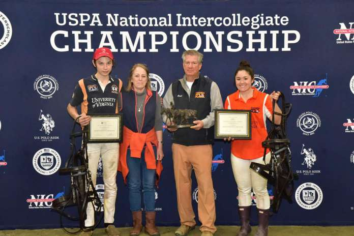 UVA's captains Jack McLean and Sadie Bryant recieving the Best Playing String trophy from Ellen and Lou Lopez