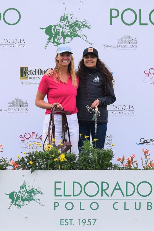 B Flight MVP, Mia Bray, presented by Eldorado Polo Club Marketing & Events Director Dre Salas ©Kerri & Hope Kerley