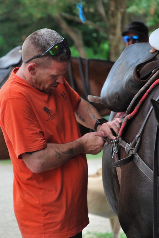 Veterans perform exercises such as how to tack up for a game. ©Amy Trytek