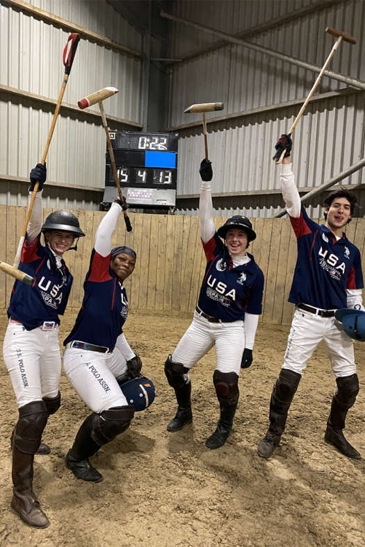 Team USA poses in the Arena with mallets in the air.