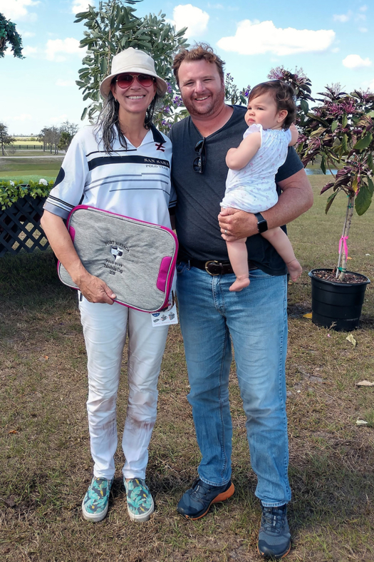 Most Valuable Player: Clarissa Echezarreta of San Saba pictured with USPA Governor at Large Steven Orthwein Jr. and daughter Hazel.