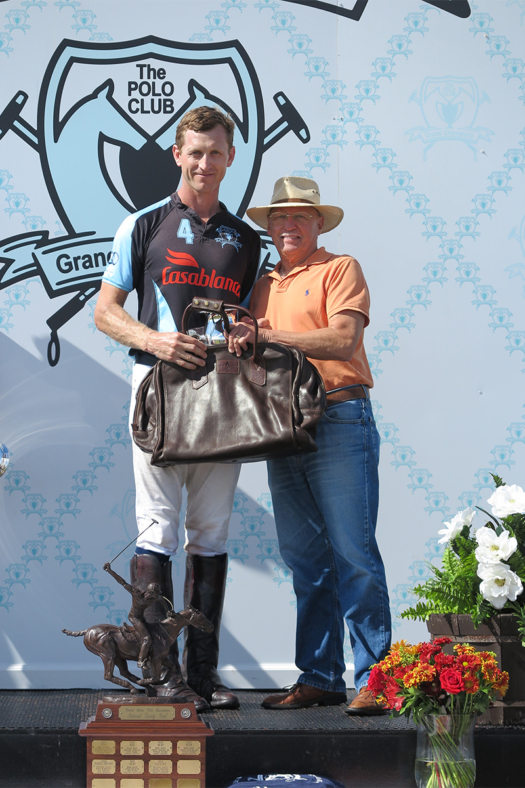 Most Valuable Player Jeff Blake pictured with George Dupont of the Museum of Polo and Hall of Fame.