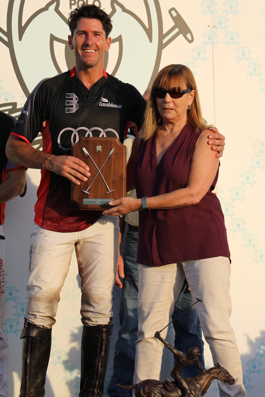 Most Valuable Player Nic Roldan presented by Brenda Lynn of the Museum of Polo and Hall of Fame.