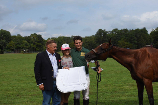 Tinicum Park Polo Club President Christoph Gerberding with Marcos Bignoli and Best Playing Pony California.