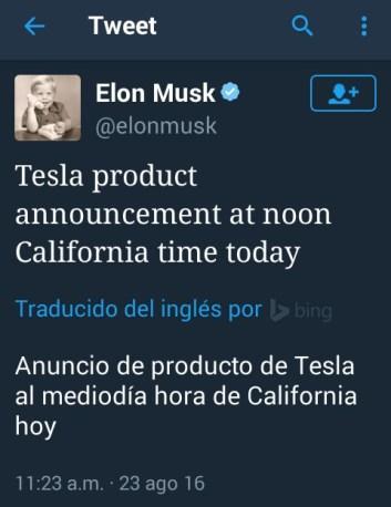 Twitter de @elonmusk CEO de Tesla