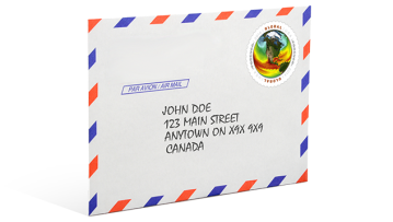 Image of an Air Mail envelope with a First-Class Global Forever® stamp.