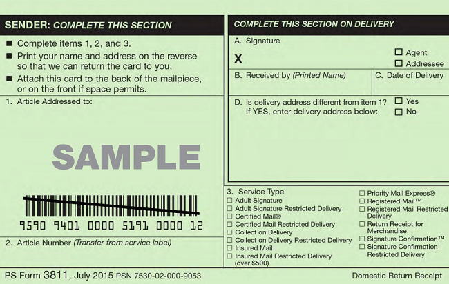 PS Form 3811 Front