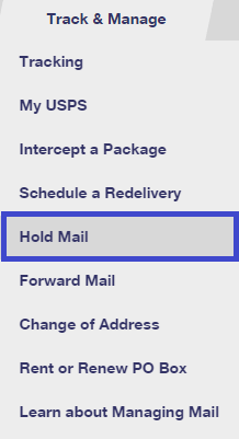 Put Mail on Hold Online
