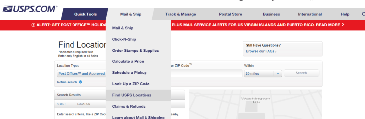 Find USPS Locations