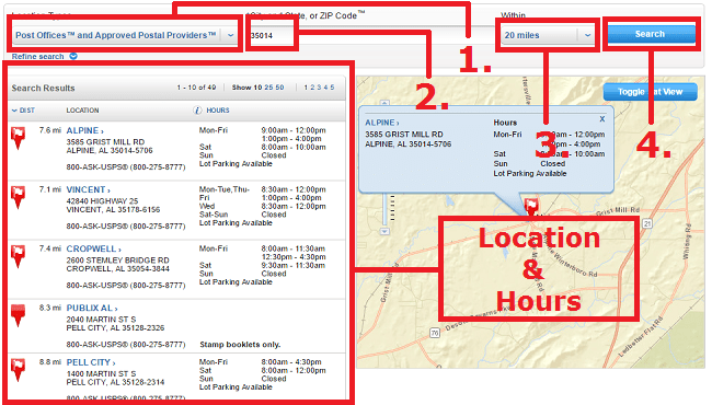 Locator tool by USPS
