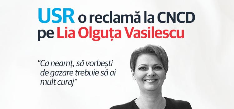 USR o reclamă la CNCD pe Lia Olguța Vasilescu
