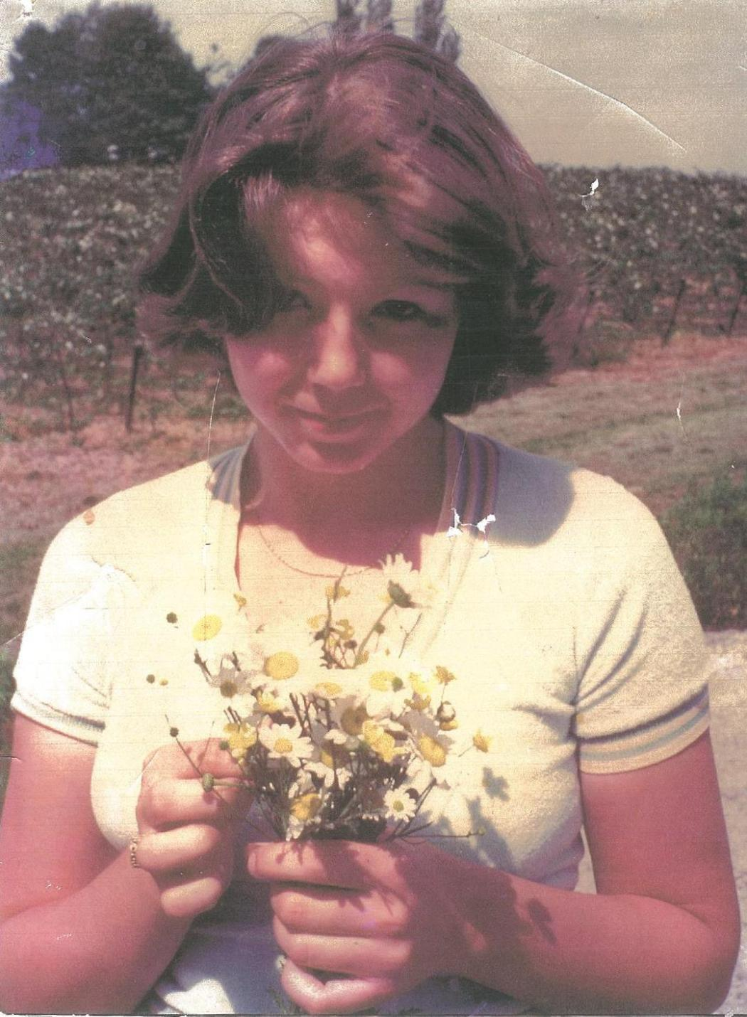 connie with flowers