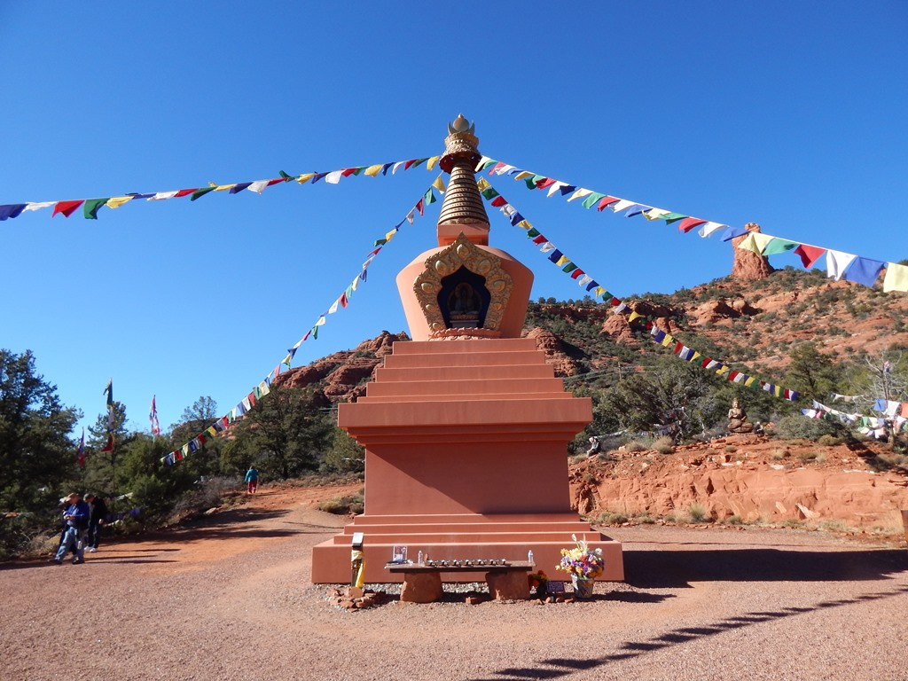 AMITABHA STUPA, Eric Stephenson, Sedona, Arizona. The Amitabha Stupa  is 36 feet tall and filled with rolls of prayer mantra, grains, medicines, objects of beauty, and even meteorites, all to protect and replenish the five elements of earth, air, fire, water, and space. Consecrated and sacred, the stupa serves as a beacon of compassion designed to overcome the misery and delusion of attachment, all while casting healing prayers for the betterment of mankind.