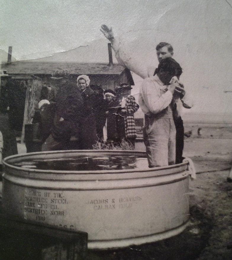 A baptism at the little prairie church, circa 1920. Photo courtesy of Rusty Winters.