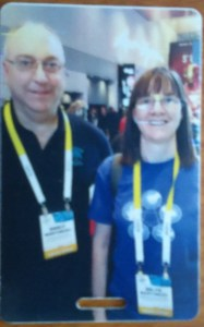Darcy and me, memorialized on a luggage tag at the Samsung Galaxy Note booth (Credit: DeLyn Martineau)
