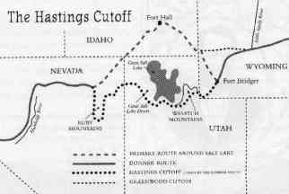 A map of the Hastings Cutoff in relation to the California Trail. (Credit: Soonerfans.com)
