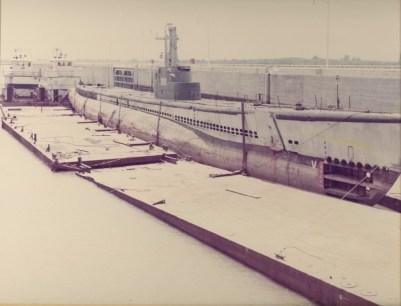 Muskogee War Memorial Park - Photo of the USS Batfish submarine coming into Muskogee, Oklahoma