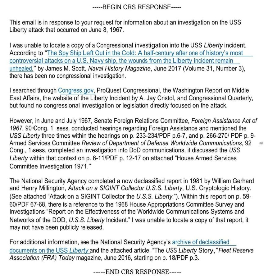 CRS Response to Congressional Investigation of USS Liberty Attack