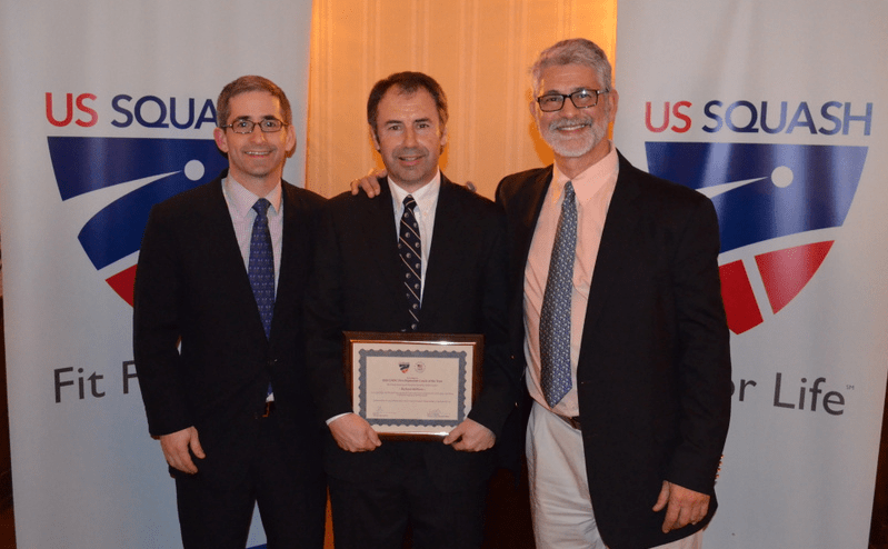 L-R: US Squash President & CEO Kevin Klipstein, Richard Millman, and Ganek Family US Squash Head National Coach.