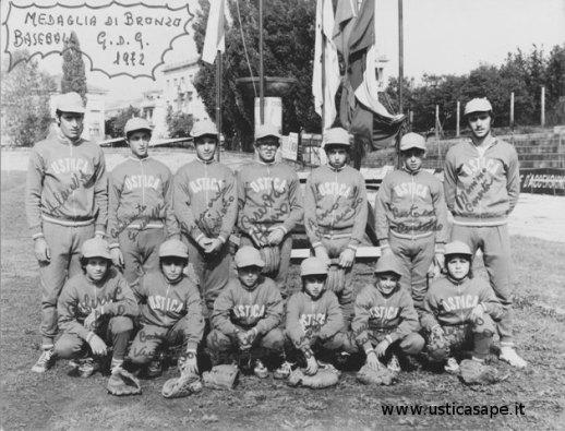 Ustica baseball, medaglia di bronzo G.D.G. 1972