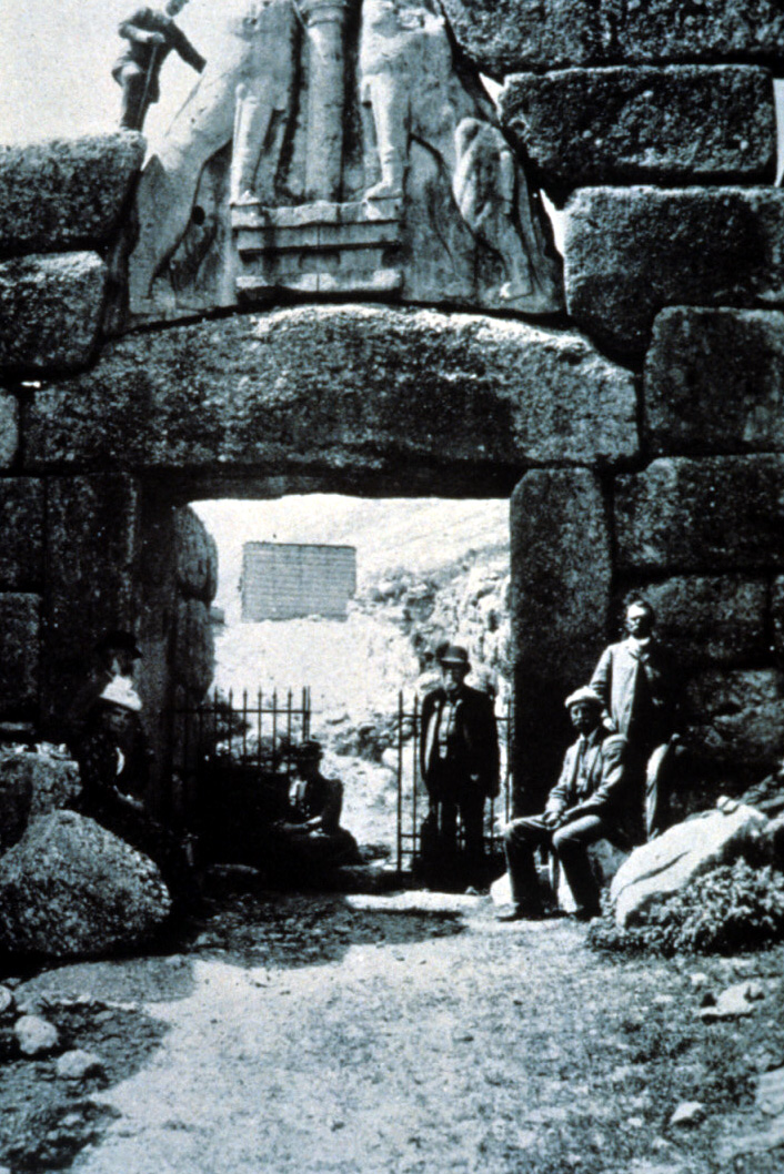 old photo of Lion's Gate, Mycenae with Schliemann