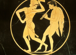 Greek vase painting depicting worshippers of Dionysus (click to see larger image)
