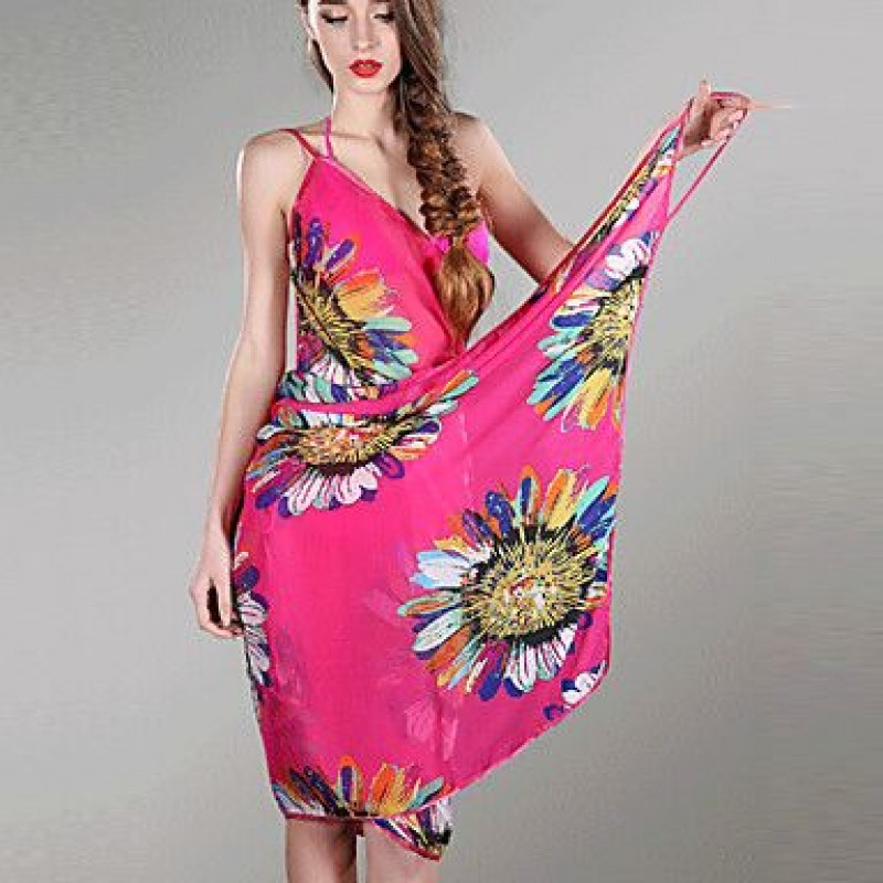 Chiffon Colorful Flowers Print Beach Swimwear Uk For Women Cover Up Bikini Dress