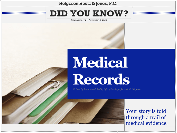 folder of medical records in personal injury case