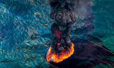 Deepwater Horizon Oil Spill on Fire