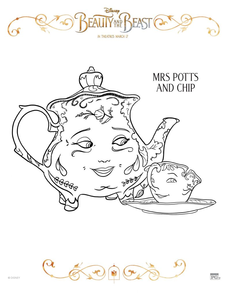 Free Printable Beauty And The Beast Coloring Pages Activity