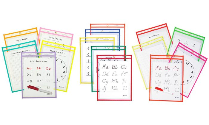 Hot Hot Reusable Dry Erase Study Aid Pouches 25 Pack