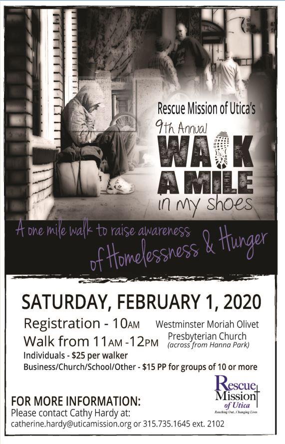 Utica Christmas Walk 2020 Annual Walk a Mile in My Shoes   Saturday, February 1, 2020