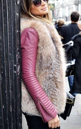 krzneni prsluk preko kozne jakne u boji
