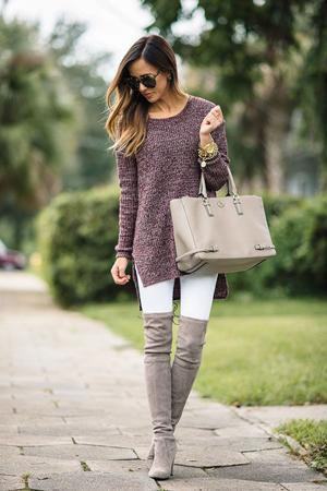 elegantna jesenja kombinacija uz bele helanke i cizme iznad kolena