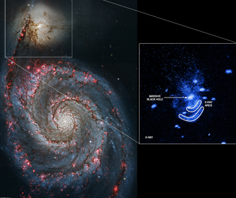 Spiral galaxy NGC 5195 and the X-ray arcs Schlegel's team identified.