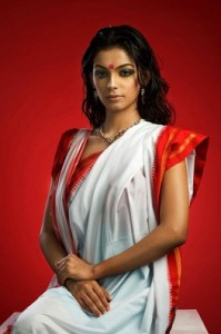 White Red Saree