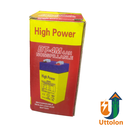 High Power Rechargeable lead acid battery 4V 4Ah uttolon bd