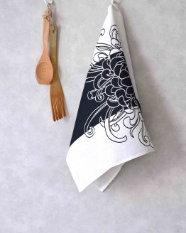 Kikukka Black Kitchen Towel Side Loop