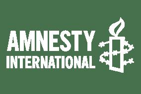 Amnesty International logotyp i vitt