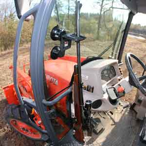 #1 Innovative Tractor or Combine Glass Mount Gun Rack with Rubber Butt